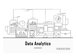 Business data analytic, finance statistics, web search analysis, database research web banner, hero image, website slider. Line art vector illustration.