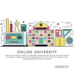 Online University, Online Education, Distance Learning, Workshop Learning concepts. Modern Flat design graphic for web banner, hero image, website slider. Creative Line art vector illustration.