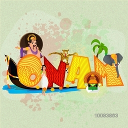 Creative decorated text Onam showing culture of Kerala on abstract splash background.