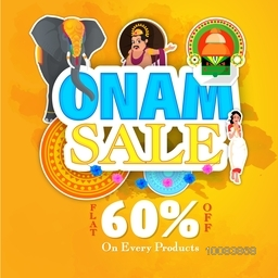 Creative Paper Text Onam Sale with different elements on yellow background, Can be used as sticker, tag or label design for South Indian Famous Festival celebration.