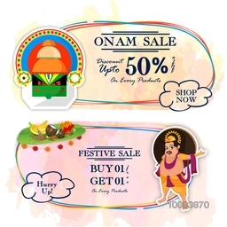 Onam Sale with Discount upto 50%, Creative Poster, Banner or Flyer design for South Indian Festival celebration.