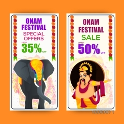 Onam Festival Sale with Special Offers, Creative website banner set with illustration of Decorated Elephant and King Mahabali for South Indian Famous Festival celebration.